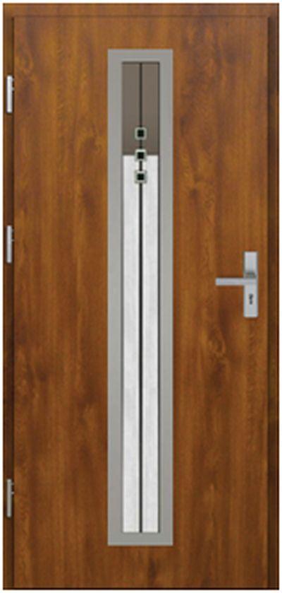 Vchodové dveře do domu MIKEA Pasiv Correra s vitráží