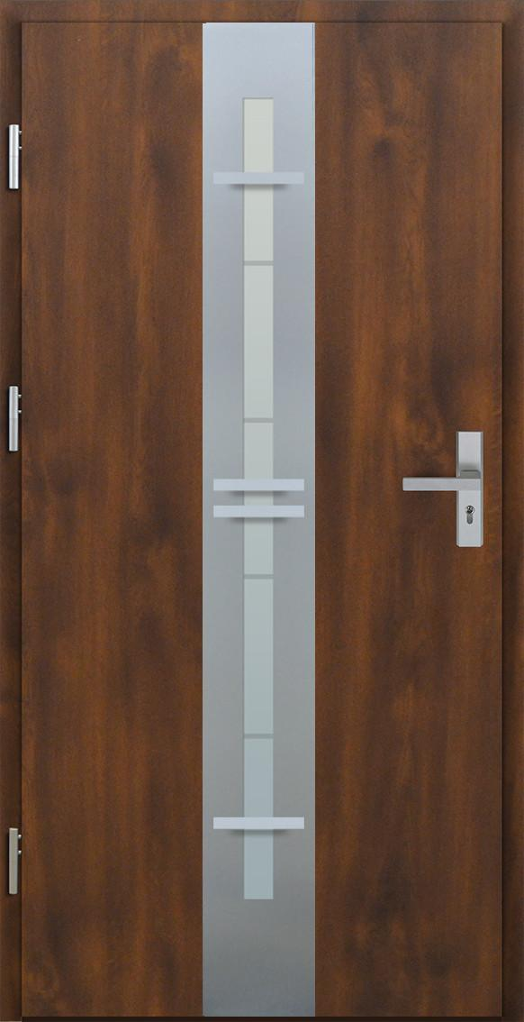 Vchodové dveře do domu MIKEA Pasiv Centro 3D s vitráží