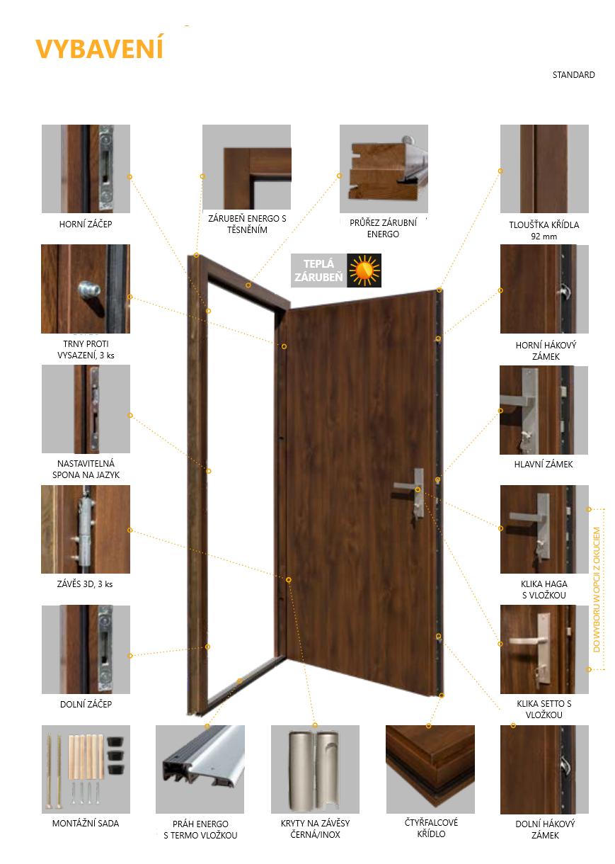 Vchodové venkovní dveře Setto PLNÉ HLADKÉ 92